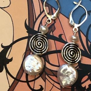 Casey Keith Design Jewelry - Coin pearl spiral earrings in white
